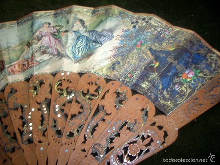 Antigüedades: Abanico isabelino varilla de madera tallada pais litografiado.ca7 - Foto 4 - 58276154