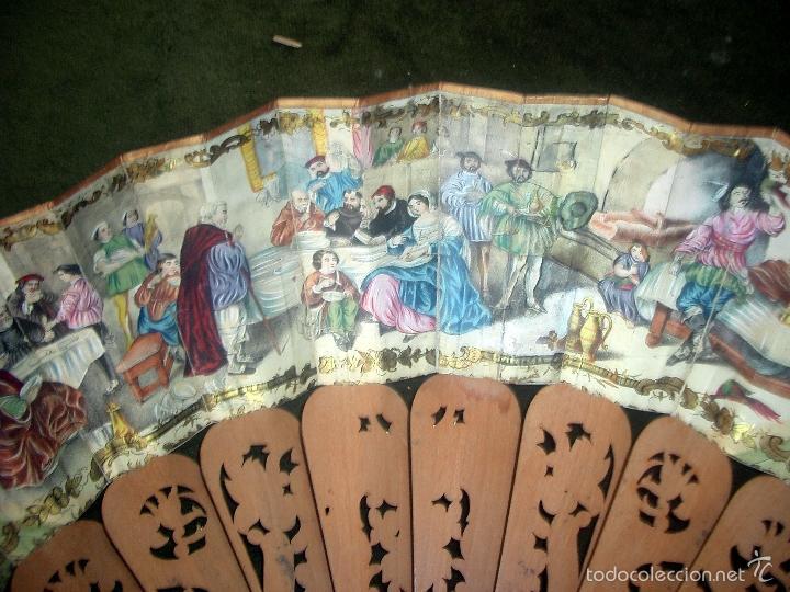 Antigüedades: Abanico isabelino varilla de madera tallada pais litografiado.ca7 - Foto 8 - 58276154