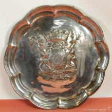 Antigüedades: BANDEJA EN METAL PLATEADO. VALENTI. BARCELONA. CIRCA 1950. . Lote 58276973