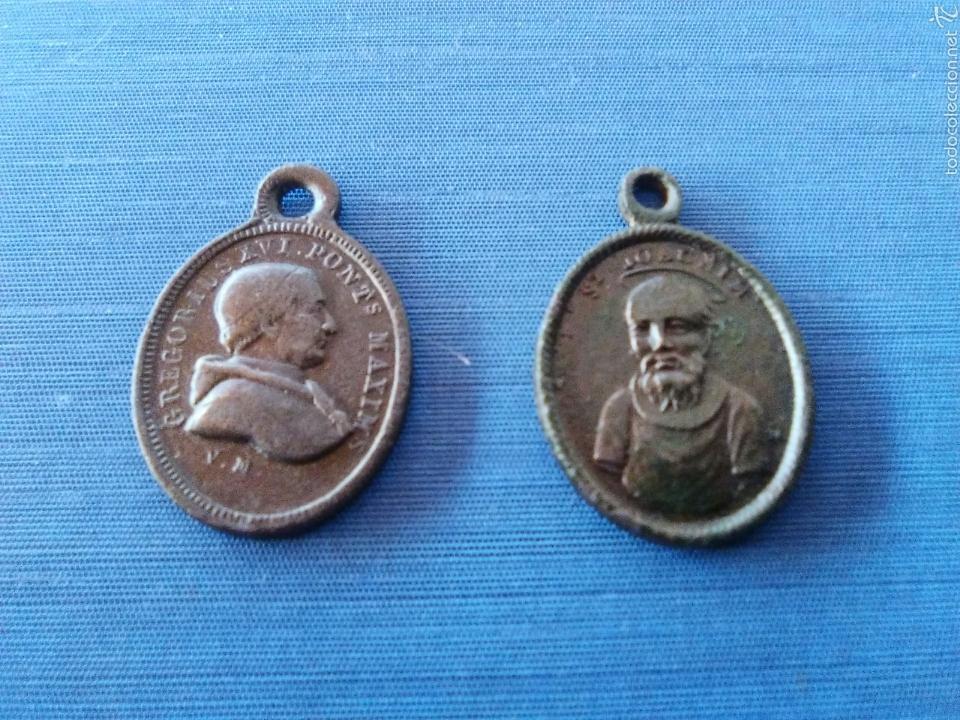 LOTE DOS MEDALLAS ANTIGUAS (Antigüedades - Religiosas - Medallas Antiguas)
