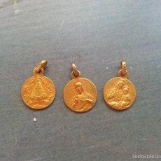 Antigüedades: MEDALLA RELIGIOSA, - LOTE 3 MEDALLAS VIRGEN DEL CARMEN - BEGOÑA - SAGRADO CORAZON DE JESUS BAÑO ORO . Lote 72069534