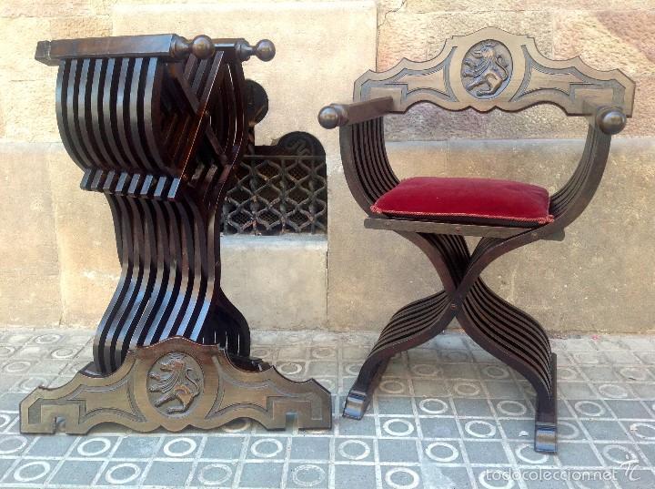 Antigüedades: Dos Sillones Plegable Renacimiento Formada Por Listones De Madera Y Talla León - Foto 4 - 58292846