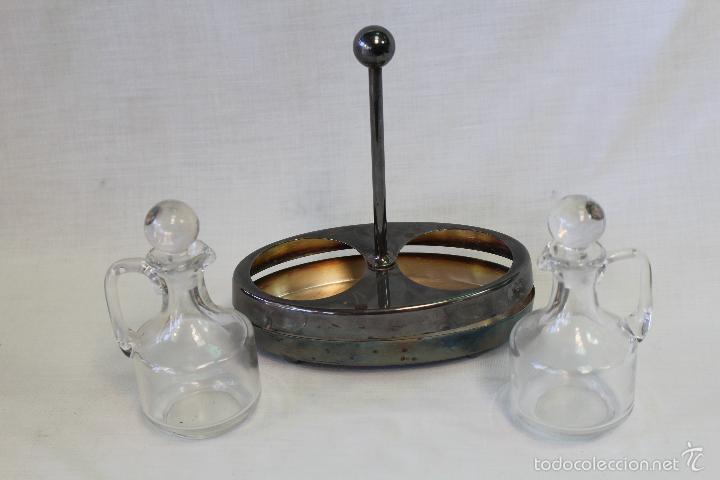 Antigüedades: vinagreras art-deco con soporte en metal plateado - Foto 5 - 107681874