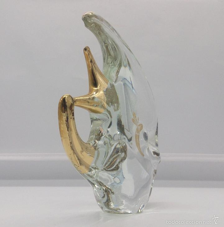 Antigüedades: Gran pez angel antiguo en cristal de murano Italiano autentico con baño parcial en oro de 18 k . - Foto 2 - 58339393