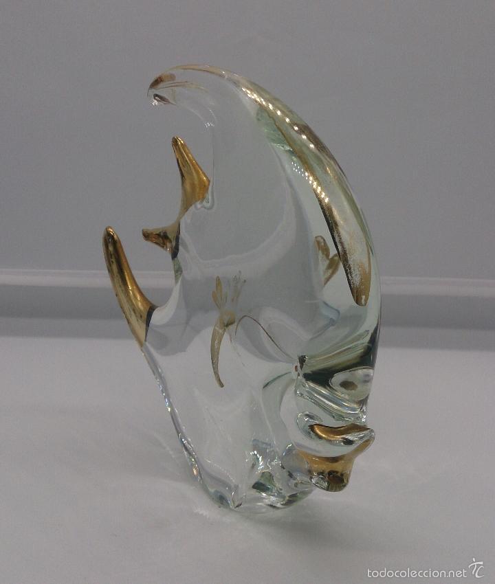 Antigüedades: Gran pez angel antiguo en cristal de murano Italiano autentico con baño parcial en oro de 18 k . - Foto 6 - 58339393