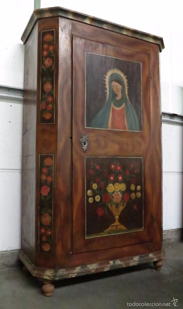 ARMARIO POLICROMADO DE ESTILO ALEMÁN CON MOTIVOS RELIGIOSOS. (Antigüedades - Muebles Antiguos - Armarios Antiguos)