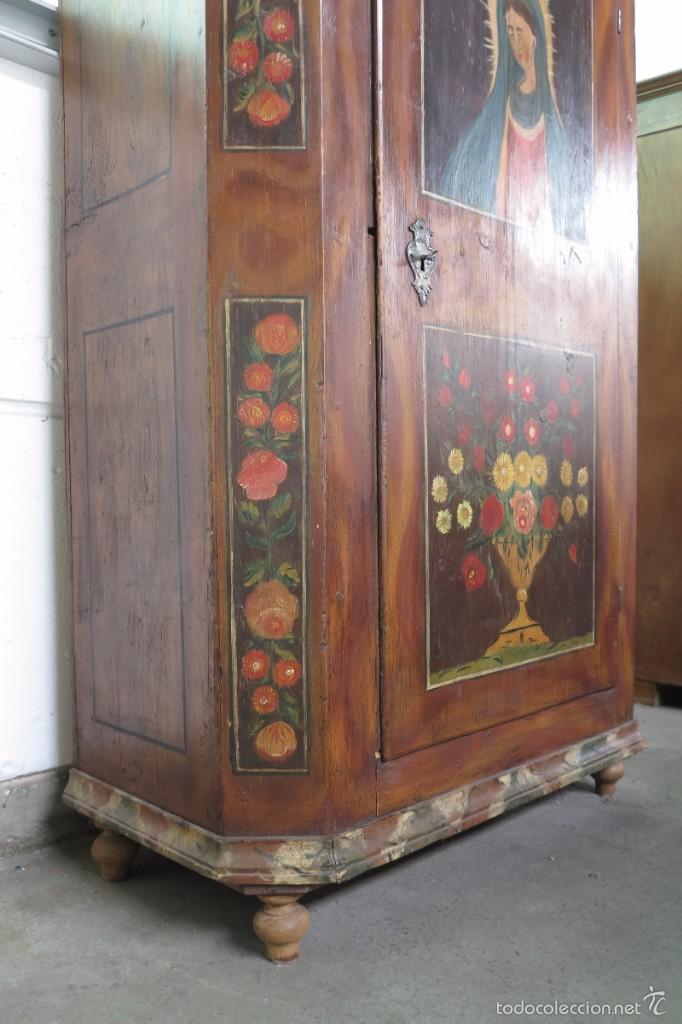 Antigüedades: Armario policromado de estilo alemán con motivos religiosos. - Foto 3 - 58339850