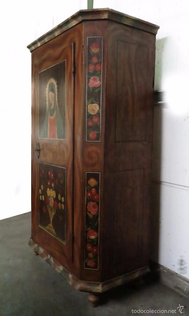 Antigüedades: Armario policromado de estilo alemán con motivos religiosos. - Foto 7 - 58339850