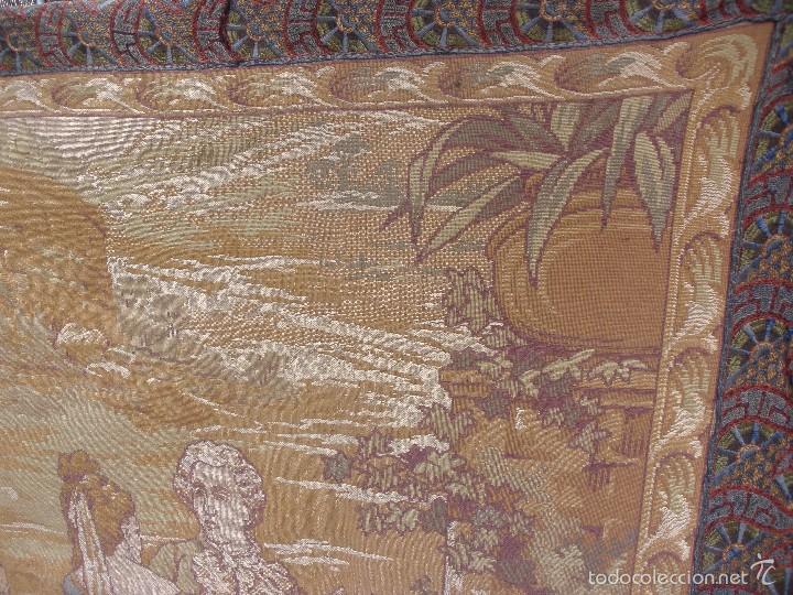 Antigüedades: ANTIGUO TAPIZ SIGLO XIX PRIMEROS DEL XX CON ESCENA GALANTE 1,63 CM X 1,44 CM. - Foto 7 - 58344583