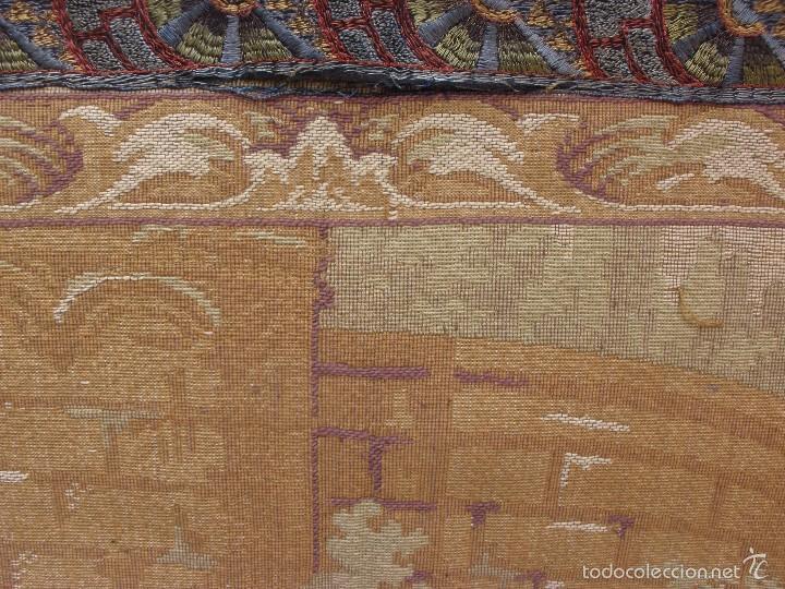 Antigüedades: ANTIGUO TAPIZ SIGLO XIX PRIMEROS DEL XX CON ESCENA GALANTE 1,63 CM X 1,44 CM. - Foto 8 - 58344583