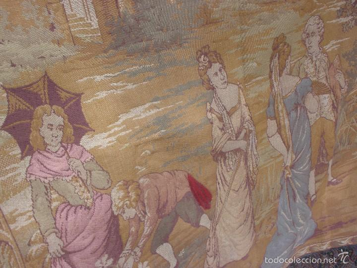 Antigüedades: ANTIGUO TAPIZ SIGLO XIX PRIMEROS DEL XX CON ESCENA GALANTE 1,63 CM X 1,44 CM. - Foto 11 - 58344583
