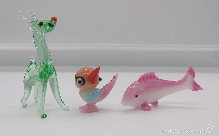 Antigüedades: Miniaturas antiguas en cristal de murano de reno, ave y pez , años 50 . - Foto 4 - 157999400