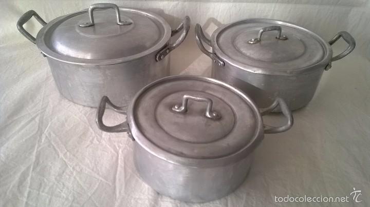 Juego tres ollas aluminio bateria cocina ol comprar for Utensilios de cocina de aluminio