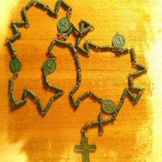 Antigüedades: ANTIGUO ROSARIO SERVITA DEL SIGLO XVII-XVIII CON MEDALLAS DE LOS DOLORES DE LA VIRGEN Y CRUZ BIFAZ. Lote 58352486