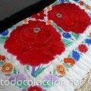 Antigüedades: MANTON BORDADO CON ROSAS. Lote 58360753