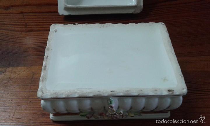 Antigüedades: cajita joyero de porcelana - Foto 5 - 58374562