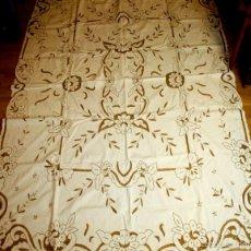 Antigüedades: MANTEL DE ENCAJE RICHELIEU. ALGODÓN BORDADO A MANO. 7 SERV. 204X170. ESPAÑA. XX.. Lote 91797508