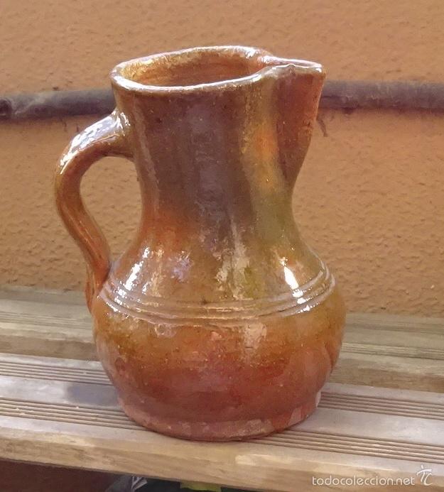 Antigüedades: JARRA DE BARRO COCIDO BARNIZADO SALVO EN LA BASE. TONOS VERDE IRISADO - Foto 3 - 58382532