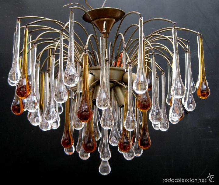 VIP! ESPECTACULAR LAMPARA VINTAGE DISEÑO PAOLO VENINI GRANDES GOTAS CRISTAL MURANO (Antigüedades - Iluminación - Lámparas Antiguas)
