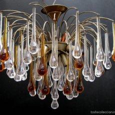 Antigüedades: VIP! ESPECTACULAR LAMPARA VINTAGE DISEÑO PAOLO VENINI GRANDES GOTAS CRISTAL MURANO. Lote 58394443