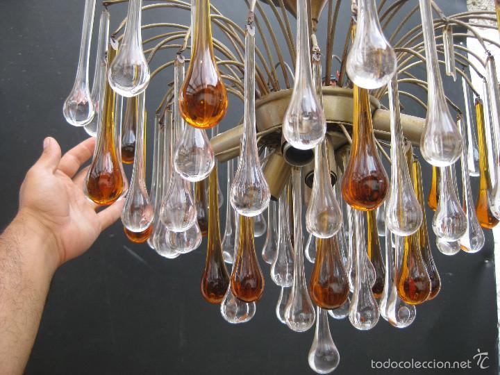 Antigüedades: vip! ESPECTACULAR LAMPARA VINTAGE DISEÑO PAOLO VENINI GRANDES GOTAS CRISTAL MURANO - Foto 2 - 58394443