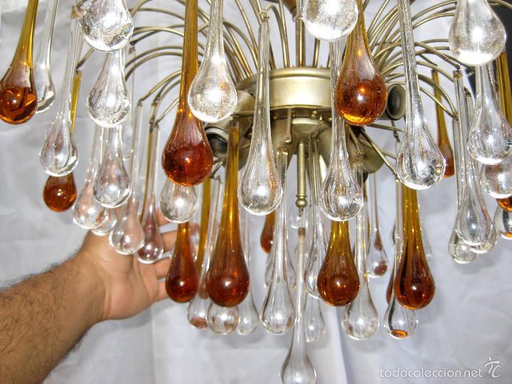 Antigüedades: vip! ESPECTACULAR LAMPARA VINTAGE DISEÑO PAOLO VENINI GRANDES GOTAS CRISTAL MURANO - Foto 5 - 58394443