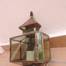 Antigüedades: APLIQUE PARED / FAROL / LAMPARA ESTILO GRANADINO - ARABE DE METAL, CRISTAL Y ESPEJO. Lote 58397551