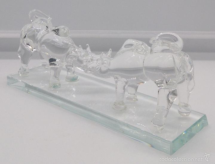 Antigüedades: Escultura antigua en cristal de murano Italiano ( Toros encarados sobre peana ), Isla de San Michele - Foto 5 - 58408613