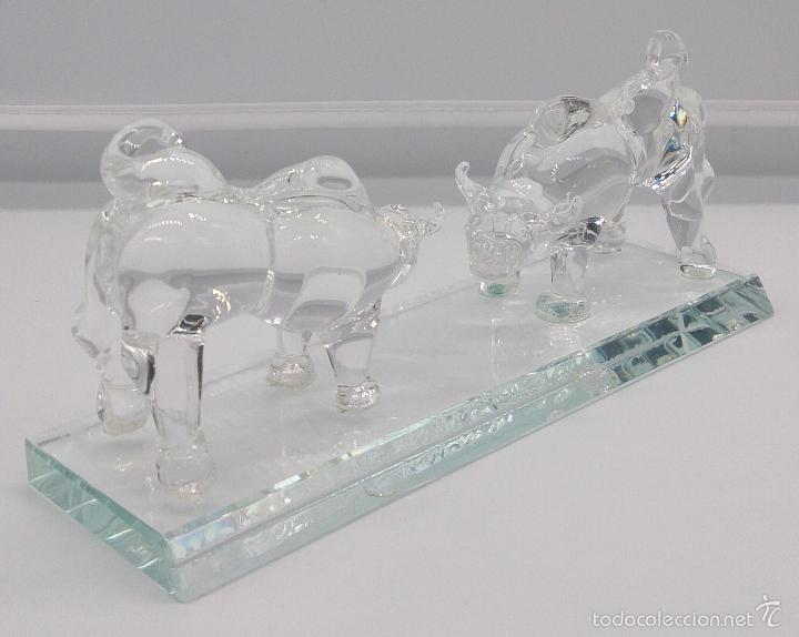 Antigüedades: Escultura antigua en cristal de murano Italiano ( Toros encarados sobre peana ), Isla de San Michele - Foto 6 - 58408613