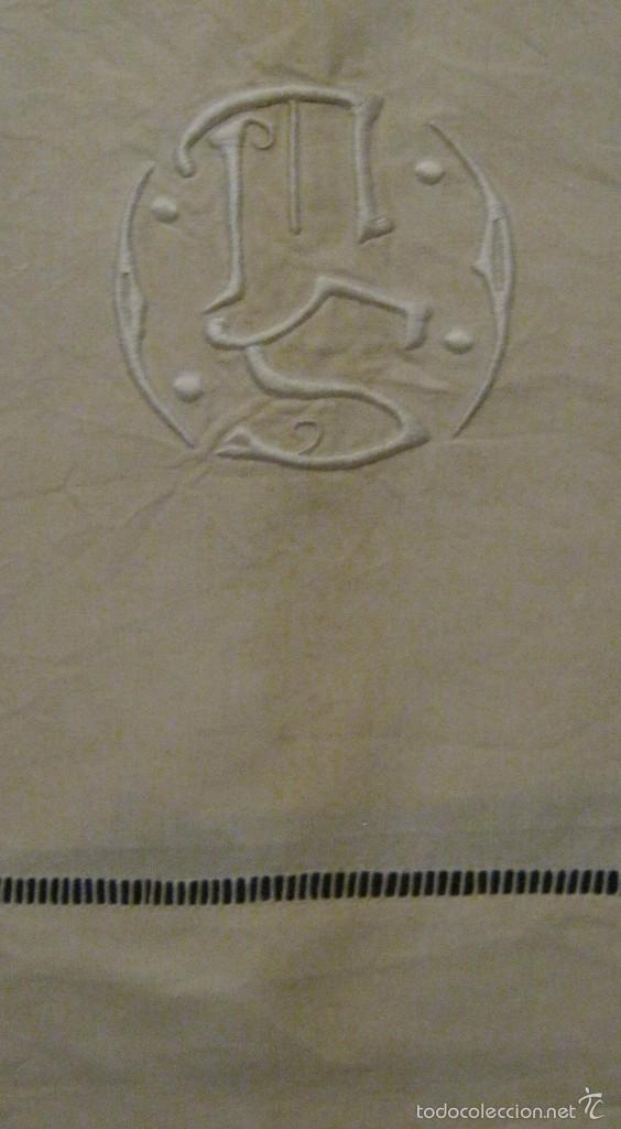 ANTIGUA SÁBANA ART DECO DE LIENZO CON INICIALES VAINICA PPIO.S.XX (Antigüedades - Hogar y Decoración - Sábanas Antiguas)