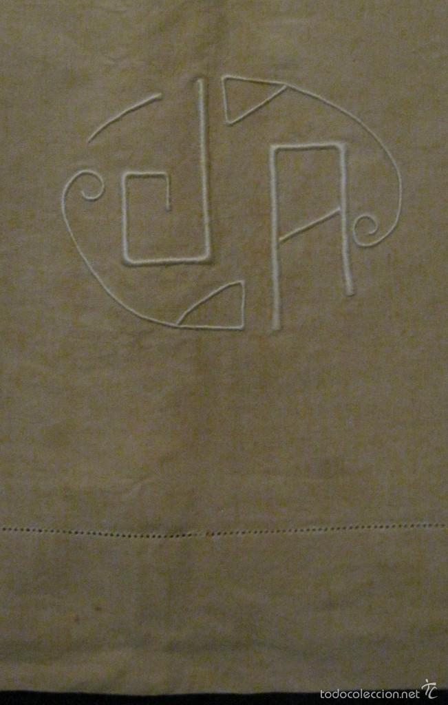 Antigüedades: ANTIGUA SÁBANA ART DECO DE CÁÑAMO CON INICIALES VAINICA PPIO.S.XX - Foto 2 - 58415218