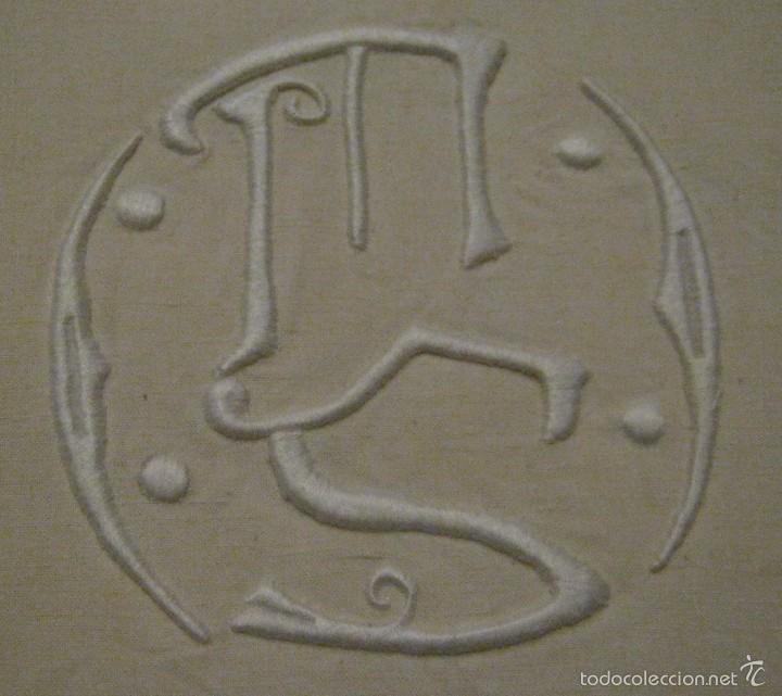 Antigüedades: ANTIGUA SÁBANA ART DECO DE LIENZO CON INICIALES VAINICA PPIO.S.XX - Foto 2 - 58415251