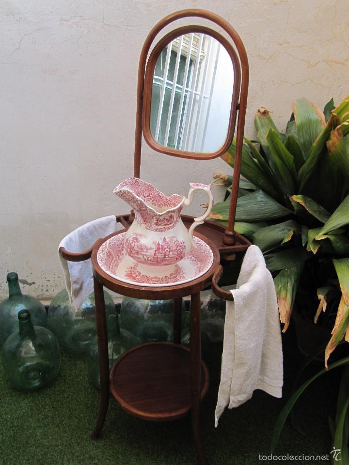 LOTE ANTIGUO PALANGANERO DE MADERA Y ANTIGUO CONJUNTO AGUAMANIL DE PORCELANA LA CARTUJA DE SEVILL (Antigüedades - Muebles Antiguos - Auxiliares Antiguos)