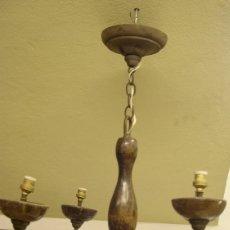 Antigüedades: LAMPARA DE MADERA Y HIERRO DE 4 BRAZOS. Lote 58448547
