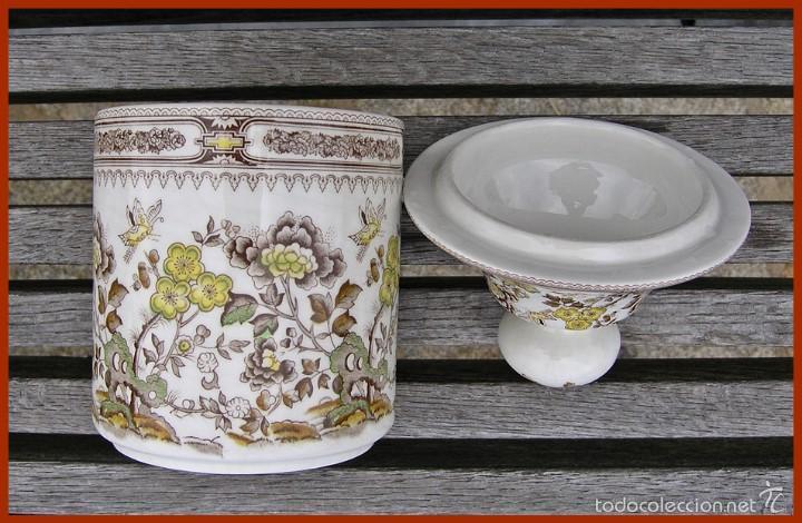 Antigüedades: Pieza porcelana tarro Tibor San Claudio Kantong......mide 23 cm X 12 cms de diámetro - Foto 4 - 58455389