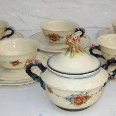 Antigüedades - impresionante! juego 6 platos y tazas y azucarero antonio peyro ceramica onda castellon - 58456520