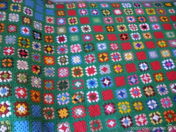 manta de lana a ganchillo o crochet tonos verde comprar