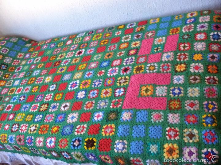 Manta de lana a ganchillo o crochet tonos verde comprar - Mantas lana ganchillo ...