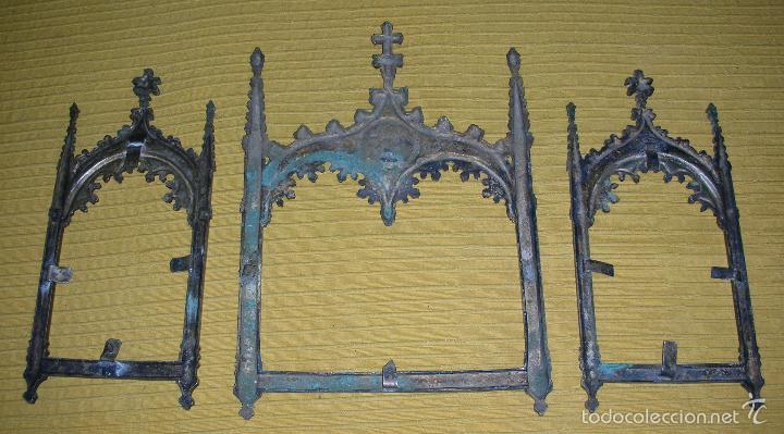 Antigüedades: TRES MARCOS DEL XVIII EN FORMA DE CAPILLA - Foto 2 - 58472206