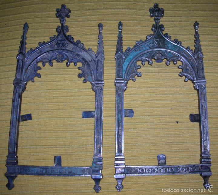 Antigüedades: TRES MARCOS DEL XVIII EN FORMA DE CAPILLA - Foto 3 - 58472206