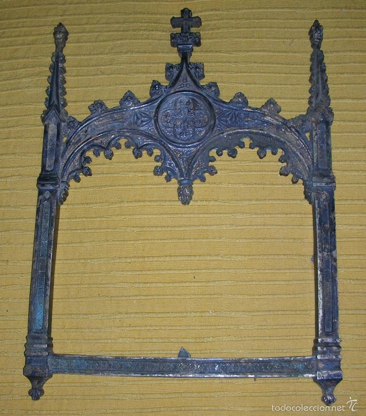 Antigüedades: TRES MARCOS DEL XVIII EN FORMA DE CAPILLA - Foto 4 - 58472206