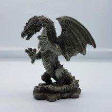 Antigüedades: FIGURA DE DRAGÓN GOTICO MITOLOGICO EN PELTRE .. Lote 58473756