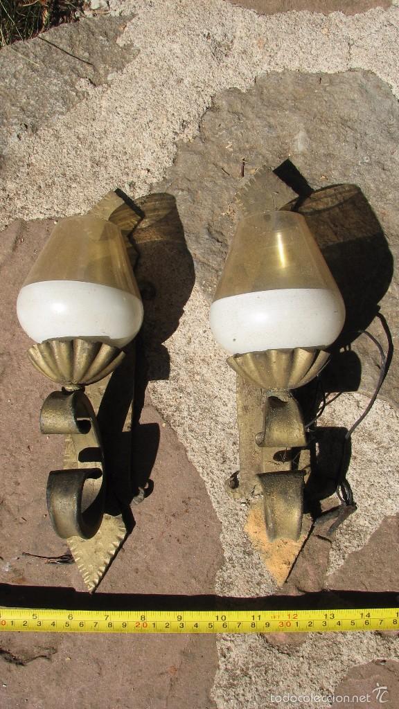 PAREJA APLIQUES DE PARED (Antigüedades - Iluminación - Apliques Antiguos)