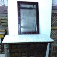 Antigüedades: BONITO MUEBLE DE ENTRADA TAQUILLON ANTIGUO CASTELLANO,CON MARMOL Y ESPEJO BISELADO. PERFECTO ESTADO. Lote 58489775