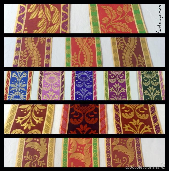 Antigüedades: Cinta de seda brocada. Dorado y marrón. - Foto 3 - 58495801