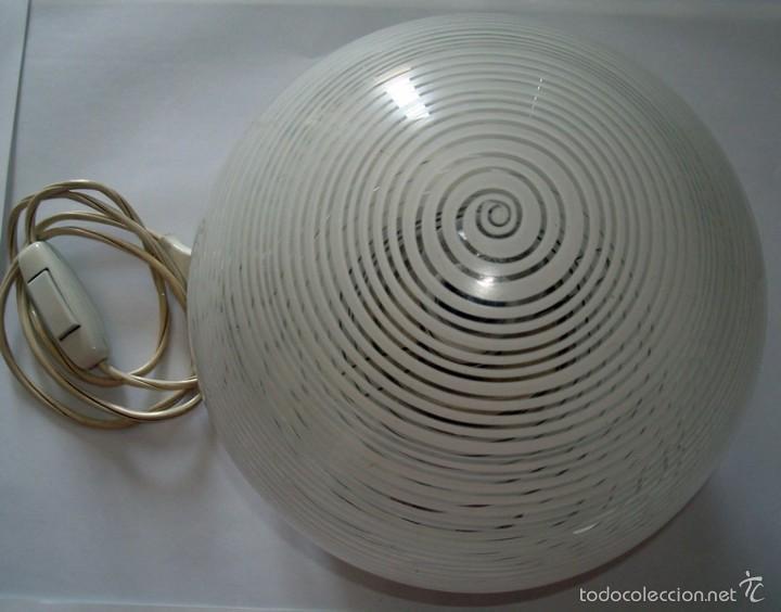 Antigüedades: LÁMPARA DE SOBREMESA EN CRISTAL Y METAL - Foto 3 - 58497040