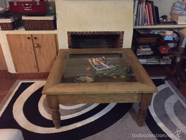 Mesa cuadrada de centro en madera y cristal comprar for Mesas de centro antiguas