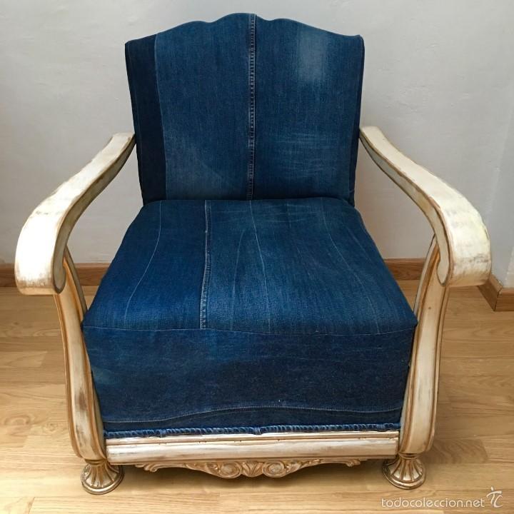 Sillon restaurado tapizado en baqueros comprar sillones for Sillones antiguos tapizados
