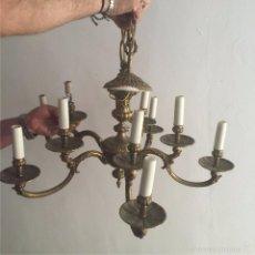Antigüedades: LÁMPARA BRONCE DE TECHO 5 BRAZOS DOBLES. Lote 58530479