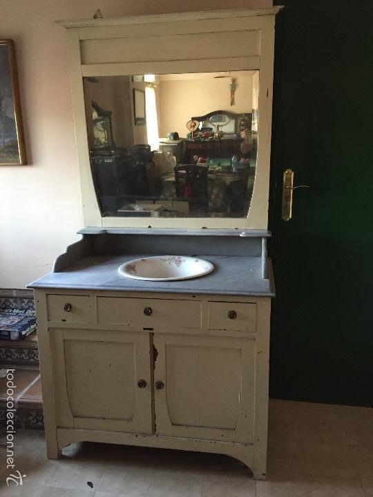 Mueble lavabo palangana loza flores y espejo sx comprar muebles auxiliares antiguos en - Mueble lavabo madera ...